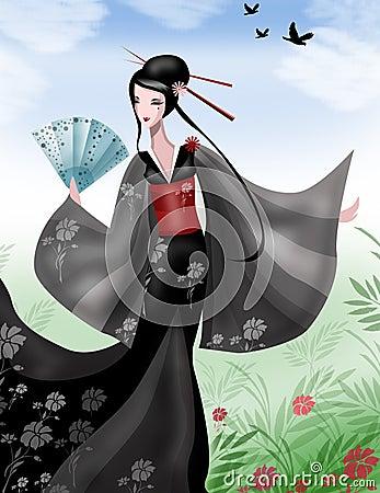 Free Japanese Geisha With Fan Stock Photography - 5474992