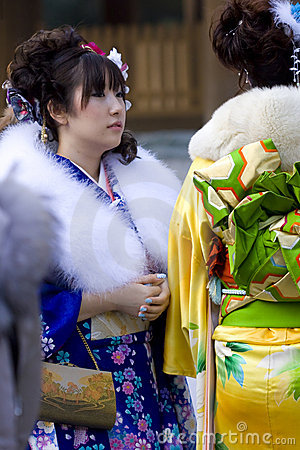 Japanese girl kimono coming of age(seijin shiki) Editorial Stock Photo