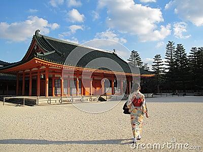 Japanese girl in Kimono with Kyoto Jinja