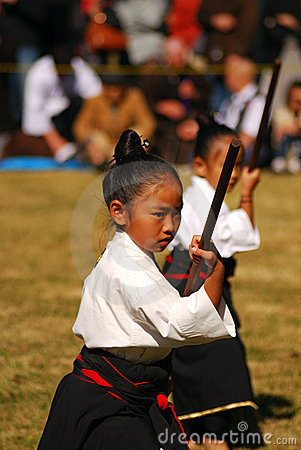 Japanese girl performing kendo, Tokyo, Japan Editorial Stock Image