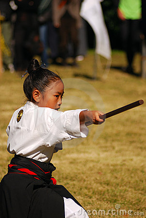 Japanese girl performing kendo, Tokyo, Japan Editorial Photo