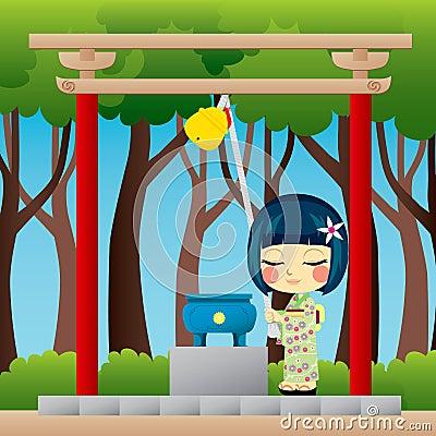 Free Japanese Girl Praying Stock Photos - 20143623