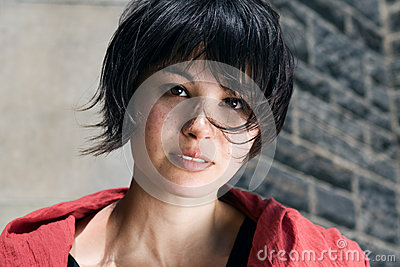 Japanese Girl With Short Hair With Freckles Stock Photo