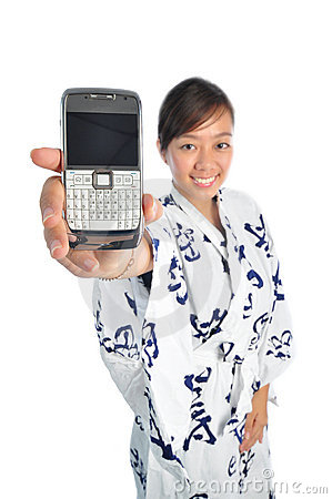 Japanese girl showing her mobile phone