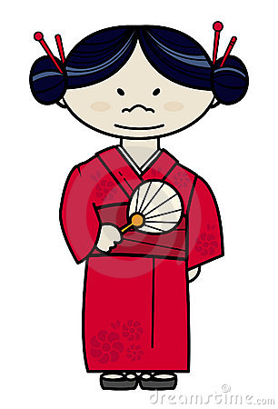 Japanese girl in traditional dress