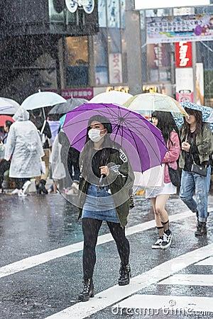Free Japanese Girl With Purple Umbrella Tokyo Royalty Free Stock Photo - 110083815