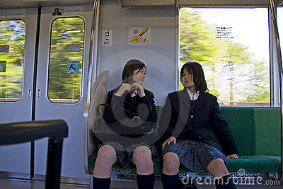 Japanese girls railway train coach Editorial Stock Photo