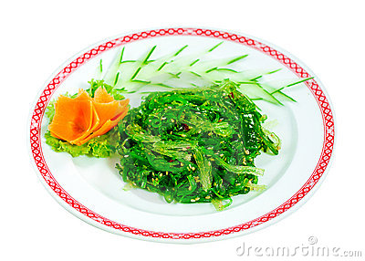 Japanese green seaweed salad menu isolated