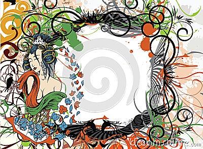 Japanese grunge floral background