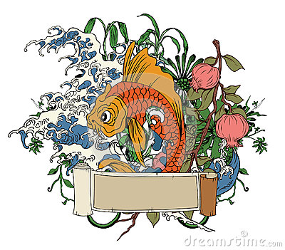 Japanese illustration with koi fish