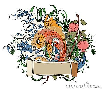 Japanese illustration with koi fish