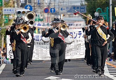 Japanese Japanese marching band performs in parade Editorial Photo