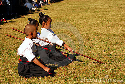 Japanese kids performing kendo, Tokyo, Japan Editorial Stock Photo