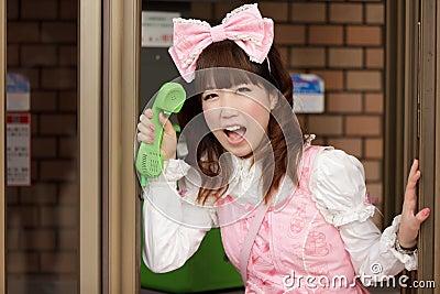Japanese lolita public phone