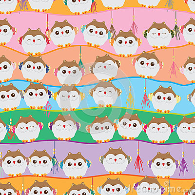 Free Japanese Lucky Owl Stand Line Seamless Pattern Stock Photo - 70563040