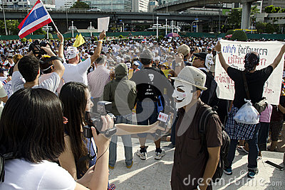 Japanese media interviews protest leader Editorial Photography