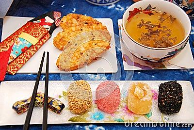 Japanese  mochi kurabe cookies and rice crackers