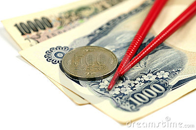 Japanese money and chopsticks
