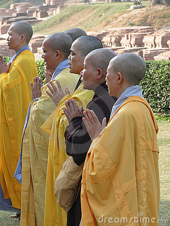 Japanese monks and nuns perform Buddhist rituals Editorial Stock Photo
