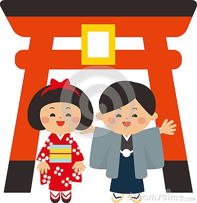 Japanese new year elements.Torii gate and kids wearing kimonos.The first shrine visit of the new year.Flat design. Vector Illustration