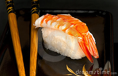 Japanese nigiri sushi with prawn