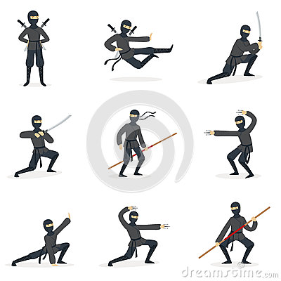 Japanese Ninja Assassin In Full Black Costume Performing Ninjitsu Martial Arts Postures With Different Weapons Series Of Vector Illustration