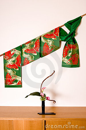 Japanese obi and ikebana