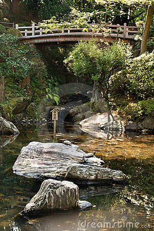 Japanese ornamental pond with bridge