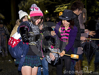 Japanese people new year eve purification Editorial Stock Photo