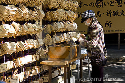 Japanese people pray shrine ema Editorial Stock Photo