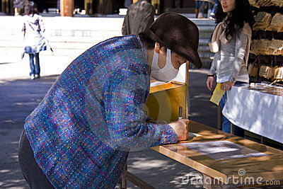 Japanese people pray shrine ema Editorial Photo