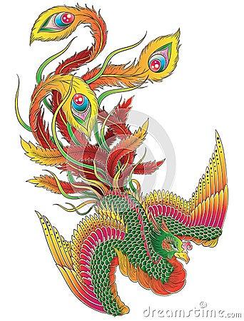 Japanese Phoenix Vector Illustration