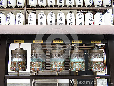 Japanese prayer wheels Editorial Photography