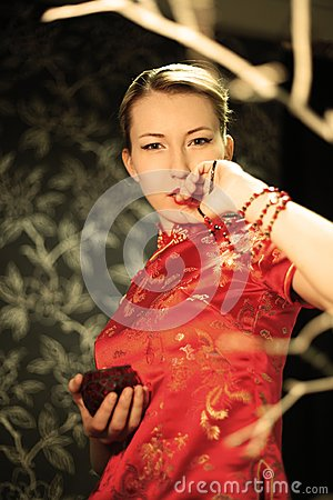 The Japanese In A Red Kimono Stock Photography - Image: 18447532