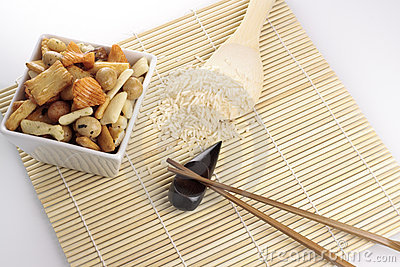 Japanese Roasted Nuts, Rice, Spoon and Chopsticks