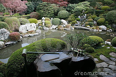 Japanese rock garden and pond
