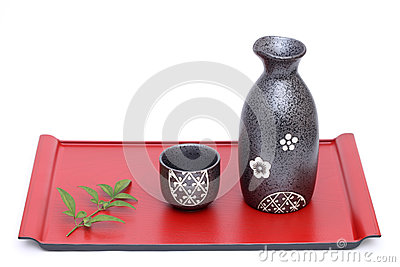 Japanese sake bottle and cup Stock Photo