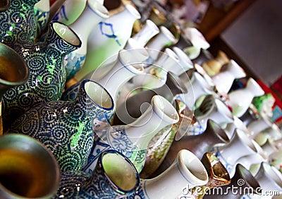 Japanese Sake jar pottery