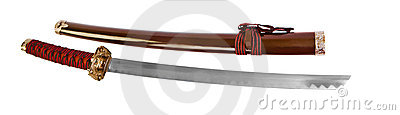 Japanese samurai sword isolated