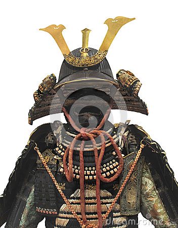 Japanese samurai warrior helmet and armor isolated