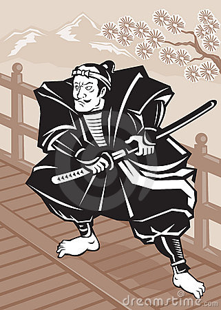 Japanese Samurai warrior sword on bridge