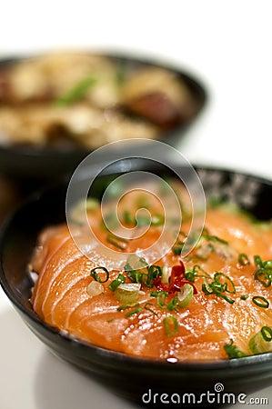 Japanese sashimi rice