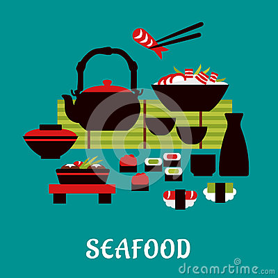 Free Japanese Seafood In Flat Style Royalty Free Stock Images - 53729889