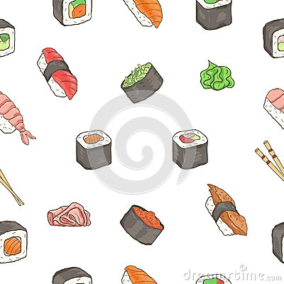 Free Japanese Seafood Sushi Rolls Seamless Pattern. Traditional Food. Royalty Free Stock Photography - 98770707