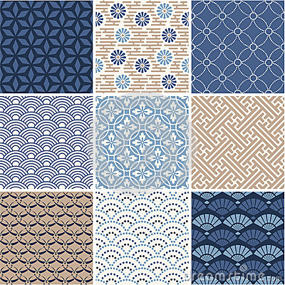 Free Japanese Seamless Patterns Set Royalty Free Stock Photography - 41841187