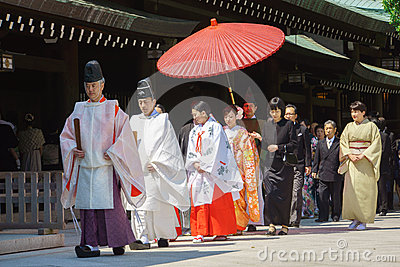 Japanese shinto wedding ceremony Editorial Stock Image