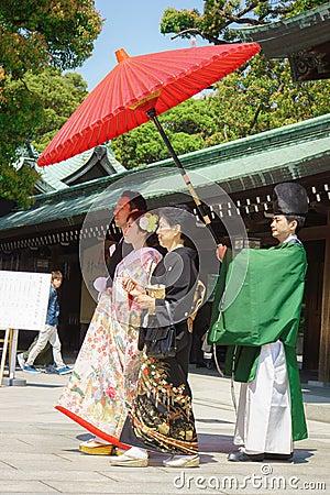 Japanese shinto wedding ceremony Editorial Stock Image