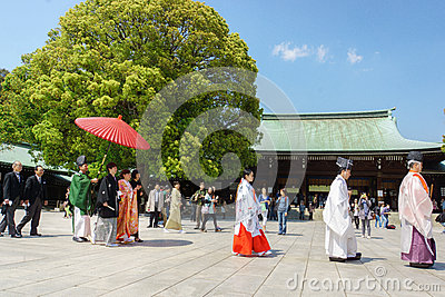Japanese shinto wedding ceremony Editorial Stock Photo