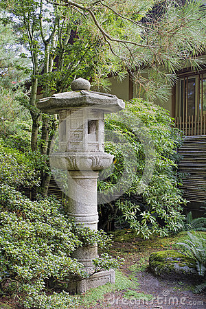 Japanese Stone Lantern in Garden Landscape