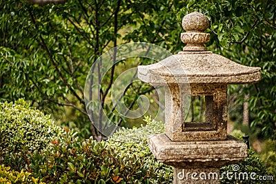 Japanese Stone Lantern in a Garden Setting